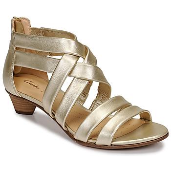 Pantofi Femei Sandale și Sandale cu talpă  joasă Clarks MENA SILK Șampanie