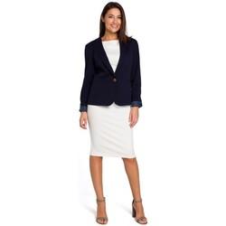Îmbracaminte Femei Rochii Style S154 Blazer cu un singur nasture - albastru marin