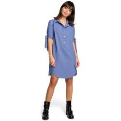 Îmbracaminte Femei Rochii Be B112 Tunică cu guler și mâneci legate - albastru
