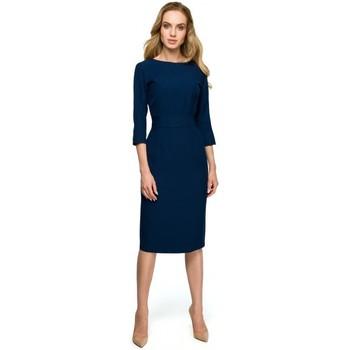 Îmbracaminte Femei Rochii scurte Style S119 Rochie cu nasturi uni - albastru marin