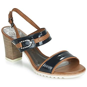Pantofi Femei Sandale și Sandale cu talpă  joasă Marco Tozzi TRELEME Camel / Bleumarin