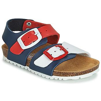 Pantofi Copii Sandale și Sandale cu talpă  joasă Garvalin BIO  BOY Bleumarin / Roșu / Alb