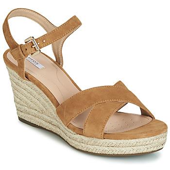 Încăltăminte Femei Sandale și Sandale cu talpă  joasă Geox D SOLEIL Camel