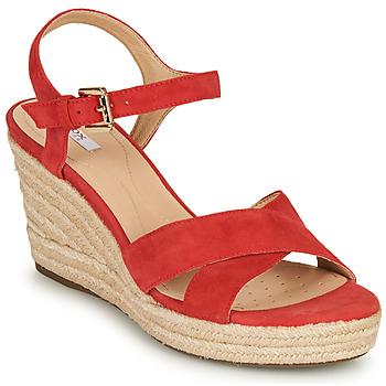 Încăltăminte Femei Sandale și Sandale cu talpă  joasă Geox D SOLEIL Roșu / Corai