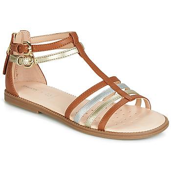 Pantofi Fete Sandale și Sandale cu talpă  joasă Geox J SANDAL KARLY GIRL Camel / Auriu