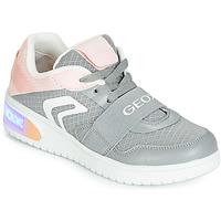Pantofi Fete Pantofi sport stil gheata Geox J XLED GIRL Gri / Roz / Led