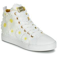 Încăltăminte Fete Pantofi sport stil gheata Geox JR CIAK GIRL Alb / Flori / Galbeni