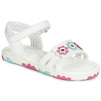 Pantofi Fete Sandale  Geox J SANDAL HAITI GIRL Alb