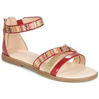 Încăltăminte Fete Sandale și Sandale cu talpă  joasă Geox J SANDAL KARLY GIRL Roșu / Auriu