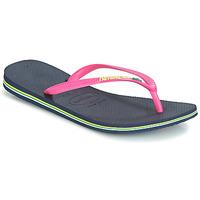 Pantofi Femei  Flip-Flops Havaianas SLIM BRASIL LOGO Navy / Pink