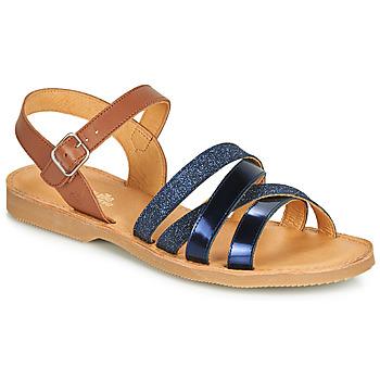 Pantofi Fete Sandale și Sandale cu talpă  joasă Citrouille et Compagnie JOLICOTE Bleumarin / Camel
