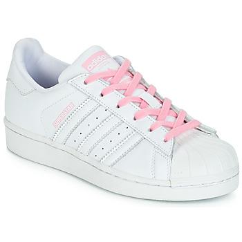 Încăltăminte Fete Pantofi sport Casual adidas Originals SUPERSTAR J Alb / Roz