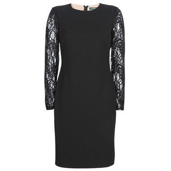 Îmbracaminte Femei Rochii scurte Lauren Ralph Lauren LACE PANEL JERSEY DRESS Negru