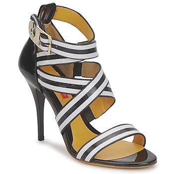 Pantofi Femei Sandale  Charles Jourdan BARBARA Negru / Alb