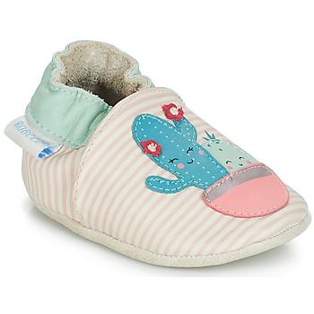 Pantofi Fete Botoșei bebelusi Robeez CACTUS Ecru / Roz