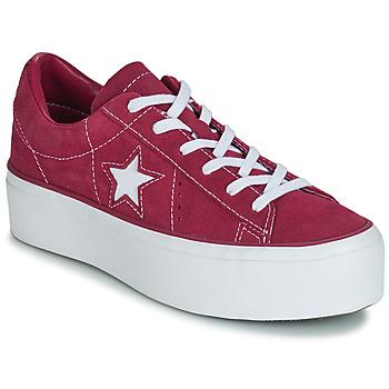 Încăltăminte Femei Pantofi sport Casual Converse ONE STAR PLATFORM SUEDE OX Fuchsia / Alb