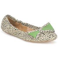 Pantofi Femei Balerin și Balerini cu curea Maloles BLANCHE Negru / Alb / Verde