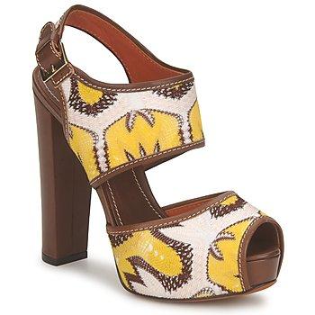 Încăltăminte Femei Sandale și Sandale cu talpă  joasă Missoni TM81 Maro / Bej / Galben