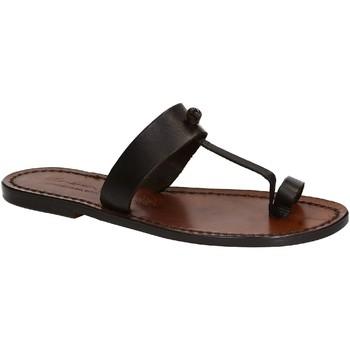 Pantofi Femei Sandale  Gianluca - L'artigiano Del Cuoio 554 D MORO CUOIO Testa di Moro