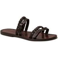 Pantofi Femei Papuci de vară Gianluca - L'artigiano Del Cuoio 575 D MORO CUOIO Testa di Moro