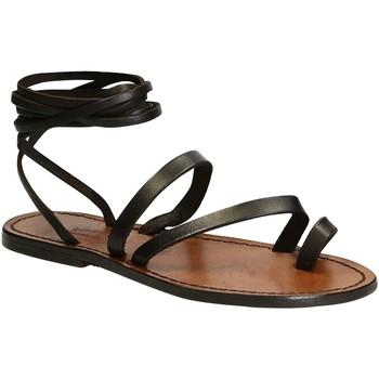 Pantofi Femei Sandale  Gianluca - L'artigiano Del Cuoio 513 D MORO CUOIO Testa di Moro