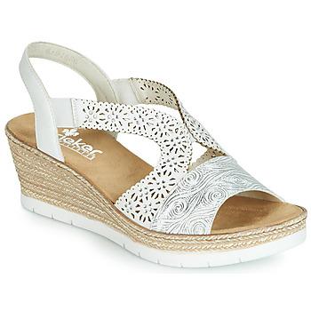 Pantofi Femei Sandale și Sandale cu talpă  joasă Rieker PASCALINE Alb