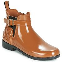 Pantofi Femei Cizme de ploaie Hunter REFINED GLOSS QUILT CHELSEA Camel