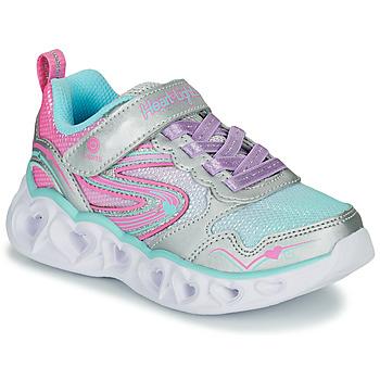 Pantofi Fete Pantofi sport Casual Skechers HEART LIGHTS Argintiu / Roz / Led