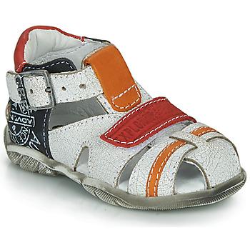 Pantofi Băieți Sandale  GBB MELVIL Alb / Roșu / Portocaliu