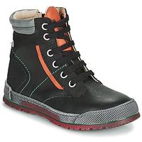 Pantofi Băieți Ghete Achile MANUEL Negru / Portocaliu