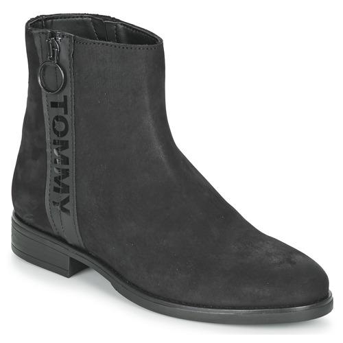 Pantofi Femei Ghete Tommy Jeans TOMMY JEANS ZIP FLAT BOOT Negru