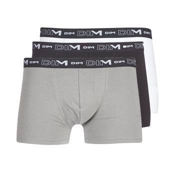 Lenjerie intimă Bărbați Boxeri DIM COTON STRETCH X3 Negru / Gri / Alb