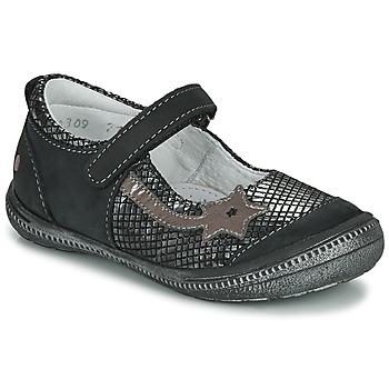 Pantofi Fete Balerin și Balerini cu curea GBB NYOKO Negru / Argintiu