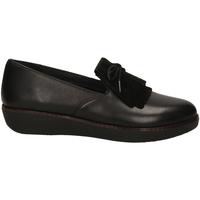 Pantofi Femei Mocasini FitFlop TESSA FRINGED black-nero