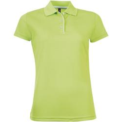 Îmbracaminte Femei Tricou Polo mânecă scurtă Sols PERFORMER SPORT WOMEN Verde