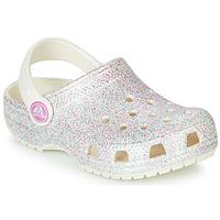 Pantofi Fete Saboti Crocs CLASSIC GLITTER CLOG K Alb
