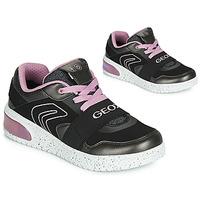 Pantofi Fete Pantofi sport stil gheata Geox J XLED GIRL Negru / Roz / Led