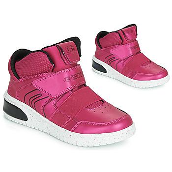 Pantofi Fete Pantofi sport stil gheata Geox J XLED GIRL Roz / Fuchsia / Negru / Led