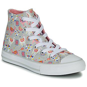 Pantofi Fete Pantofi sport stil gheata Converse CHUCK TAYLOR ALL STAR LLAMA HI Gri / Multicolor