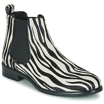 Pantofi Femei Ghete Betty London HUGUETTE Negru / Alb / Zebra