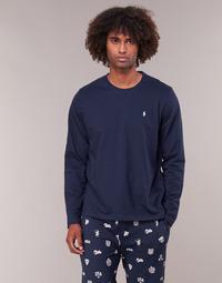 Îmbracaminte Bărbați Tricouri cu mânecă lungă  Polo Ralph Lauren L/S CREW-CREW-SLEEP TOP Albastru