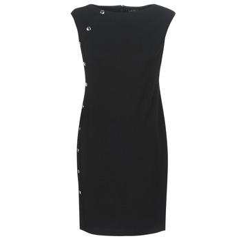 Îmbracaminte Femei Rochii scurte Lauren Ralph Lauren BUTTON-TRIM CREPE DRESS Negru