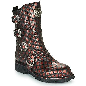 Pantofi Femei Ghete New Rock  Negru / Roșu
