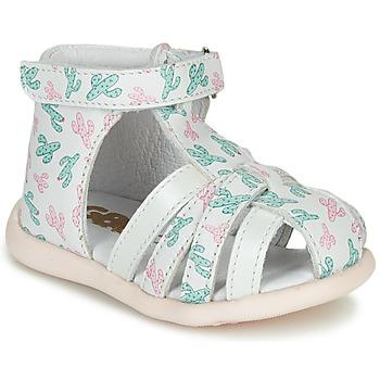 Pantofi Fete Sandale  GBB AGRIPINE Alb / Verde / Roz