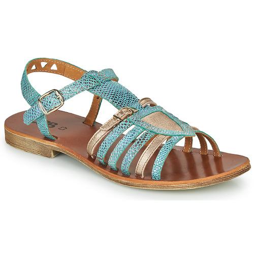 Pantofi Fete Sandale  GBB FANNI Albastru / Auriu