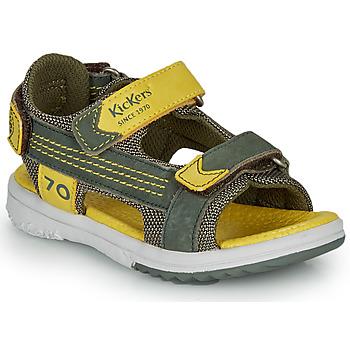 Pantofi Băieți Sandale  Kickers PLANE Kaki / Galben