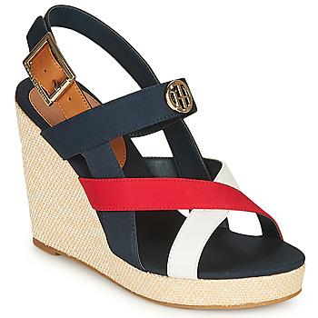 Pantofi Femei Sandale  Tommy Hilfiger BASIC HARDWARE HIGH WEDGE SANDAL Albastru / Alb / Roșu