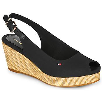 Pantofi Femei Sandale  Tommy Hilfiger ICONIC ELBA SLING BACK WEDGE Negru