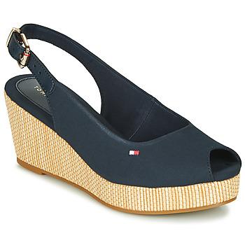 Pantofi Femei Sandale  Tommy Hilfiger ICONIC ELBA SLING BACK WEDGE Albastru