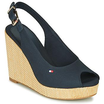 Pantofi Femei Sandale  Tommy Hilfiger ICONIC ELENA SLING BACK WEDGE Albastru